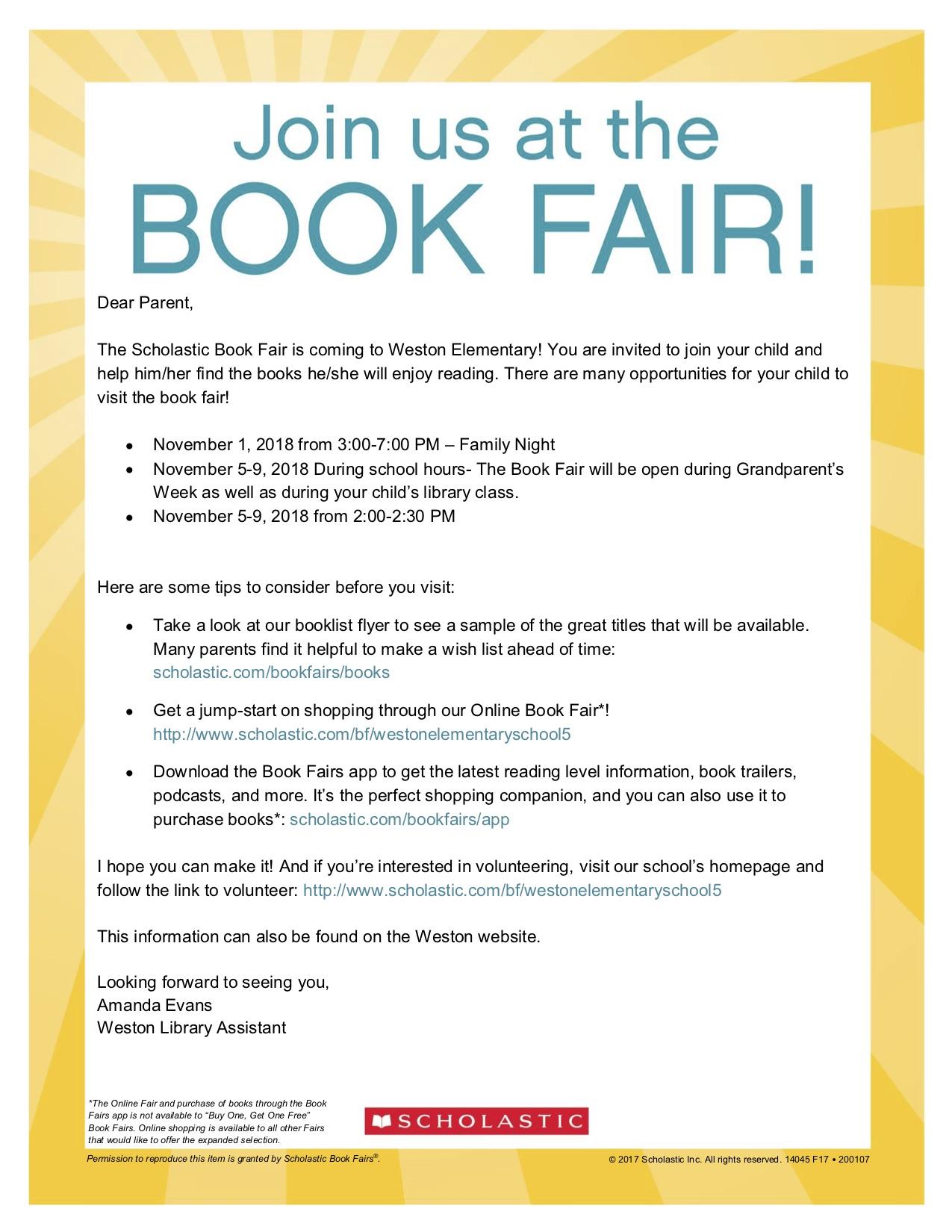 Book Fair – Weston Elementary School